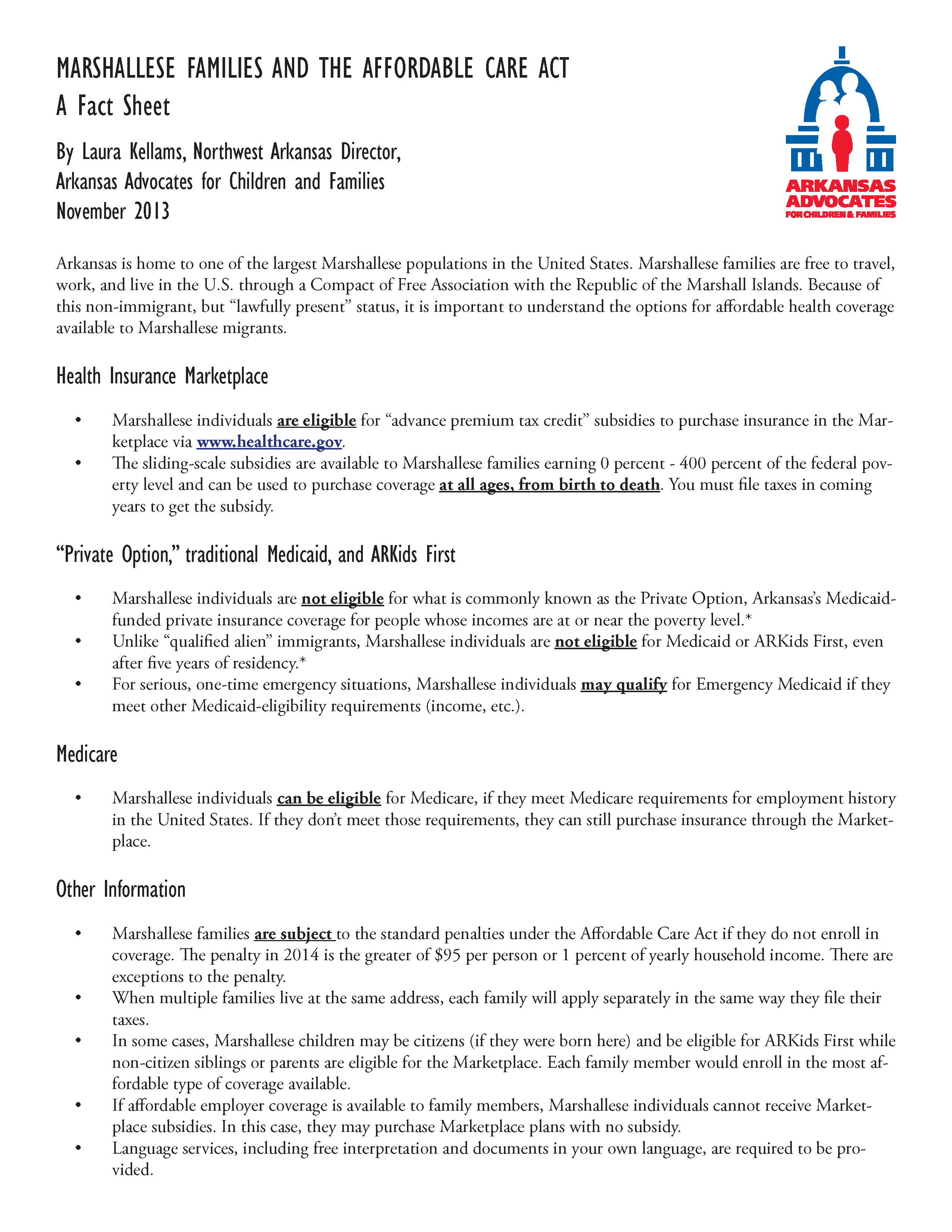 Fact Sheet: Marshallese Families And The Affordable Care Act Arkansas  Advocates For Children And Families (aacf)